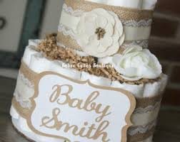 2 Tier Neutral Shabby Burlap Diaper Cake Ivory Lace Gender Cottage