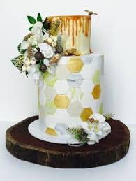 Honey Bee Geometric Wedding Cake