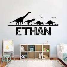 großhandel persönliche namen individuelle wandtattoo jurassic park dinosaurier vinyl aufkleber für jungen schlafzimmer dekoration kunst mode plakat