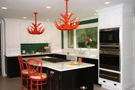 Aesthetic Small Kitchen Design With Unique Orange Ceiling