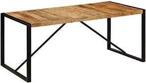 vidaxl mangoholz massiv esstisch vintage esszimmertisch küchentisch speisetisch massivholztisch holztisch tisch esszimmer küche 180x90x75cm stahl