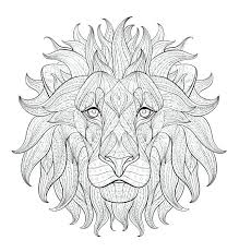 Free Printable Coloring Pages A Face Of Lion Adult Page