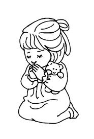 Little Girl And Teddy Bear Doing Lords Prayer Coloring Page