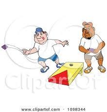 Caucasian And Black Man Playing Cornhole Bean Bag Toss By LaffToon