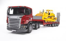 Bruder SCANIA R-series Low Loader Truck With CAT Bulldozer 03555 ...