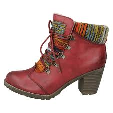 ladies rieker knitted cuff fashion lace up boots label 95323 ebay