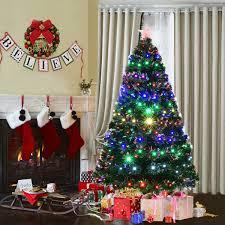 Costway 6 Pre Lit Fiber Optic Artificial Christmas Tree W Multicolor LED Lights