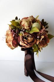 Silk Wedding Bouquet Brown Green Peony Bridal Bouquet Vintage