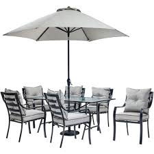 Hanover Lavallette 7 Piece Glass Top Rectangular Patio Dining Set With Umbrella Base