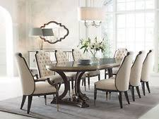 NEW 9 Pieces Traditional Dining Room Set W Oval Brown Table Beige Chairs IC83