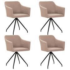 vidaxl esszimmerstühle drehbar 4 stk taupe stoff gitoparts