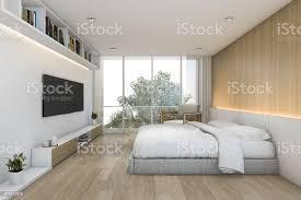3d rendering minimal holz schlafzimmer mit tv und regal stockfoto und mehr bilder architektur