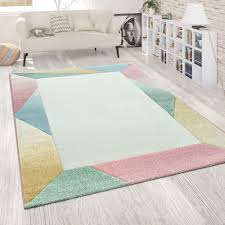 teppich wohnzimmer bunt pastell kurzflor muster