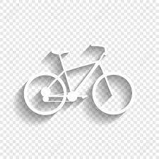Bicycle Bike Sign Vector White Icon With Soft Shadow On Transparent Background