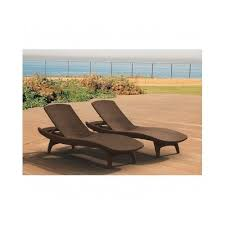 Outdoor Lounge Chair Set 2 Patio Rattan Brown Pool Deck