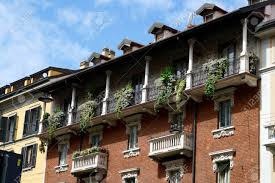 100 House In Milan View Of Houses In With Balconies Decorated With Green