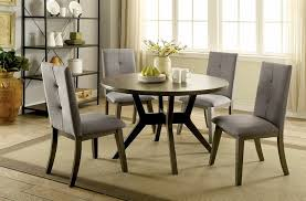 CM3354GY RT 5 Pc Abelone Mid Century Modern Style Gray Finish Wood 48 Round Dining Table Set