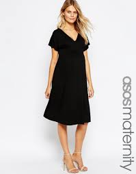image 1 of asos maternity midi dress with flutter sleeve