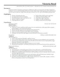 Catering Server Resume Sample For Waitress Example Banquet Examples With Experience