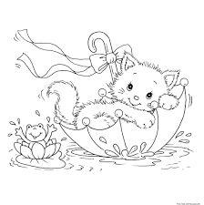 Printable Coloring Pages Kitty Cat Frog Umbrella Pictures Dogs Cats Sheets And Of Horses Full