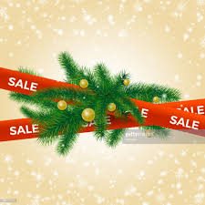 Fir Tree Branches With Christmas Balls On Red Ribbon Winter Sale Background Vector Illustration