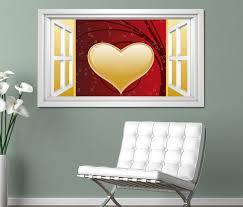 3d wandtattoo fenster herz ranke blumenranke rot gold liebe hintergrund schlafzimmer weiß wand aufkleber wanddurchbruch sticker selbstklebend wandbild