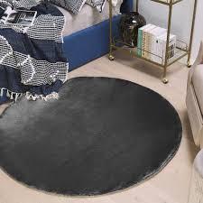wohnzimmerteppich rund plüschtextur haustierfreundlich shaggy marrakesh gri101mktd