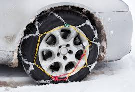 Front View Of Tire Chains On Car Wheel On Dirty Vehicle In Snow ...