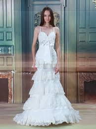 double straps tiered lace mermaid wedding dress with bowknot