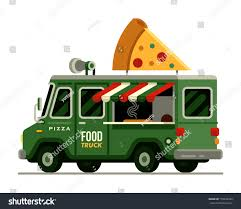 100 Green Food Truck Italian Pizza Street Stock Vector Royalty