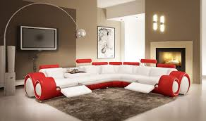 Red Sectional Living Room Ideas by Red Leather Sectional Sofa With Recliners Revistapacheco Com