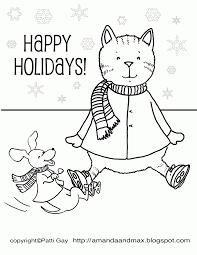 Happy Holidays Coloring Page Home Throughout Pages