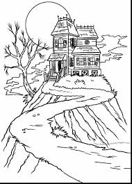 Good Haunted House Coloring Page With Pages And Sheets