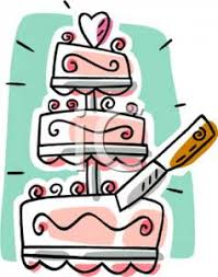 A Knife Cutting a Wedding Cake Royalty Free Clipart Picture