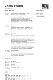 Groundskeeper Maintenanace Tech Resume Example