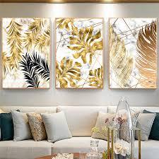 wohnzimmer dekoration malerei gold schwarz marmor blackground anlage blatt wand kunst bild druck auf leinwand poster cuadros decor