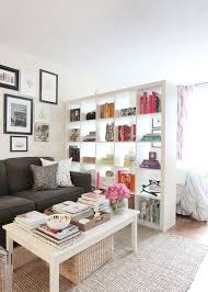 ApartmentEndearing Small Apartment Studio Plan With Mini Kitchen And Bookshelves Room Divider Neat