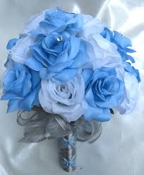 Wedding Bouquet Bridal Silk Flowers BLUE SILVER WHITE Bridesmaids Boutonnieres Corsages 17 Pc Package 17900