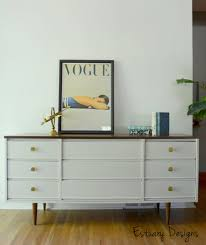 furniture modern mid century dresser in white nuance with picture