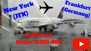 Lufthansa A380 800 New York JFK to Frankfurt Germany