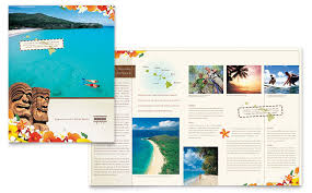 Travel Guide Brochure Template Hawaii Vacation Design