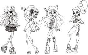 Coloring Pages Girls Monster High Vintage Free Printable