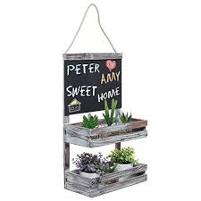 Hanging Country Rustic Brown Wood 2 Tier Plant Flower Planter Pot Shelf Display Rack W Chalkboard Sign
