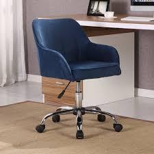 modern office chair task desk adjustable swivel height velvet blue