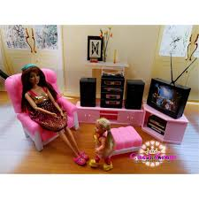 Barbie Living Room Playset by Miniature Living Room Furniture For Barbie Doll House Pretend Play