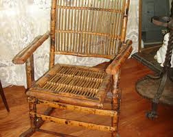 CLEARANCE SALE 50 OFF Antique Bamboo Folding Rocking Chair Vintage Rattan Rocker Adult