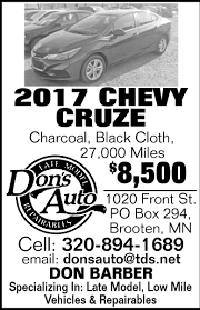 2017 Chevy Cruze, DON'S AUTO INC, Brooten, MN Residential Glass Replacement Windows Bunker Dons Mobile Auto Body Paint Shop Ltd Opening Hours 27441 Fraser Hwy Sales Home Towing Transport Tow Truck Roadside Donalds Quality Automotive Service Visit The Store In Merced Youtube Our Work Trim Indianapolis