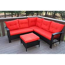 Outdoor Sectional Sofa Set by Amazon Com Oliver Smith Large 4 Pc High Back Rattan Wiker