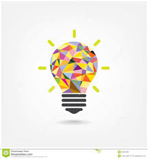 Colorful Geometric Light Bulb Creative Concept Bu