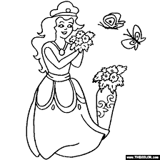 Princess And Butterflies Online Coloring Page